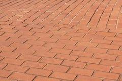 Zbliżenie czerwonej cegły tekstury na przejściu i wzory Obraz Royalty Free