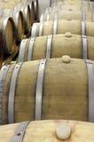 Zbliżenie drewniane baryłki dla dorośleć wino 3 i przechować Fotografia Royalty Free