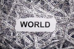 Zbliżenie drzeć taśmy papier z słowem świat i kawałki Fotografia Stock