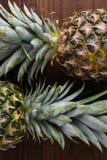 Zbliżenie dwa świeżego dojrzałego ananasa na ciemnej drewno powierzchni Zdjęcie Stock