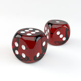 Zbliżenie dwa szczęsliwy uprawiać hazard dices Obraz Stock