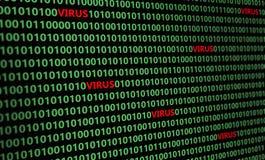 Zbliżenie infekujący komputerowym wirusem binarny kod Obrazy Stock