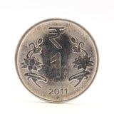 Zbliżenie jeden Indiańskiej rupii moneta Obrazy Stock