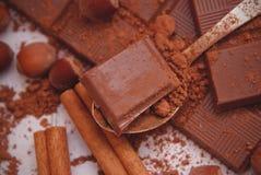 Zbliżenie Kakaowy proszek i zmrok czekolada z cynamonem, Kakaowy proszek Składniki dla przygotowania deser Recipie Obrazy Royalty Free