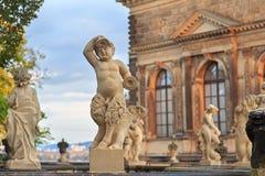 Zbliżenie kamienna statua dziecka faunus przy Zwinger pałac w Dresde Fotografia Royalty Free