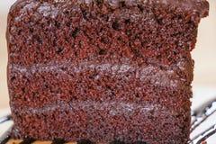 Zbliżenie kawałek Czekoladowy Fudge na drewnianym stole Selekcyjna ostrość Obrazy Stock