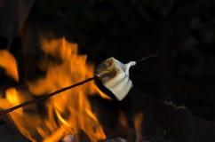 Zbliżenie kij z cukierki piec marshmallow nad ogieniem obraz royalty free