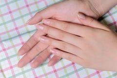 Zbliżenie kobiety piękni palce Zdjęcie Stock