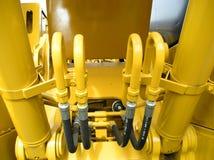 zbliżenie konstrukcji ciągnika jasno żółty Fotografia Stock