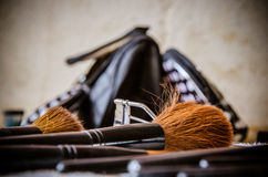 Zbliżenie kosmetyka makeup narzędzia Obrazy Royalty Free