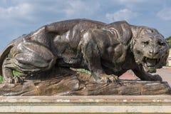 Zbliżenie lew statua w ogródzie Mysore pałac, India Zdjęcie Royalty Free