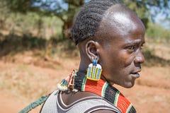 Zbliżenie mężczyzna etniczna Hamer-Banna grupa, Etiopia, Afryka Zdjęcia Stock