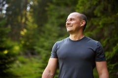 Zbliżenie mężczyzna w lesie Zdjęcie Stock