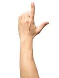 Zbliżenie męski ręki wskazywać odizolowywam Fotografia Royalty Free