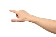 Zbliżenie męski ręki wskazywać odizolowywam Zdjęcia Royalty Free