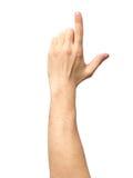 Zbliżenie męski ręki wskazywać odizolowywam Zdjęcia Stock