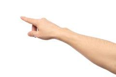 Zbliżenie męski ręki wskazywać odizolowywam Obrazy Stock