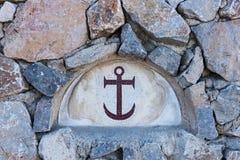 Zbliżenie mozaiki kotwicowe płytki na kamiennej ścianie Obrazy Royalty Free