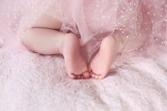 Zbliżenie nowonarodzona dziecko cieków dziewczyna przeciw miękkich części menchii koc plecy Obraz Stock