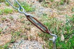 Zbliżenie Ośniedziały metalu haczyka i oka Turnbuckle Obraz Royalty Free