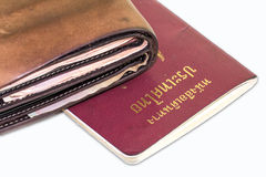 Zbliżenie paszport na białym tle i portfel Obrazy Royalty Free