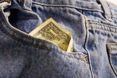 zbliżenie pieniędzy w kieszeni Zdjęcie Royalty Free