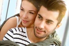 Zbliżenie portret atrakcyjna kochająca para Zdjęcia Royalty Free