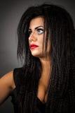 Zbliżenie portret ekspresyjna młoda kobieta z kreatywnie robi Obraz Royalty Free