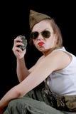Zbliżenie portret młody ładny kobieta model z granatem ja Obraz Royalty Free