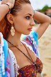 Zbliżenie portret Piękna dziewczyna W Seksownym bikini Na plaży Zdjęcie Royalty Free