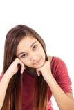 Zbliżenie portret piękna nastoletnia dziewczyna z długim hai zdjęcia royalty free