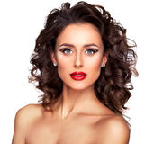 Zbliżenie portret piękny nagi mody kobiety model zdjęcia royalty free