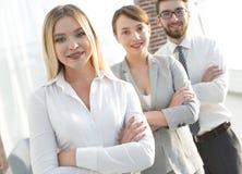 Zbliżenie portret pomyślna biznes drużyna Biznesowy pojęcie obrazy stock