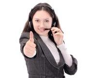 zbliżenie portret pracownika centrum telefoniczne Odizolowywający na bielu fotografia royalty free