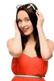 Zbliżenie portreta młodej kobiety mody wspaniały model odizolowywający dalej Obraz Stock