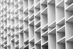 Zbliżenie przedyskutowana fasada betonowy budynek Biała wentylacja z kreatywnie i piękną deseniową architekturą zdjęcie stock
