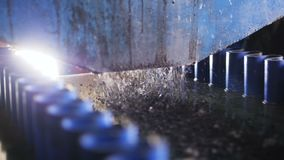 Zbliżenie pył nalewał od zbiornika na poruszającym konwejeru pasku zbiory wideo
