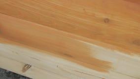 Zbliżenie ręka w ochronnej rękawiczce maluje drewnianą deska domu ścianę z paintbrush w brown kolorze zbiory wideo