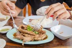 Zbliżenie ręki żaba jeść kurczak polewkę i łyżka Fotografia Stock