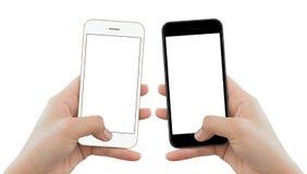 Zbliżenie ręki chwyta telefon odizolowywający na białym tle obraz stock