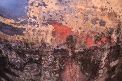 Zbliżenie rocznika stary starzejący się tradycyjny Tajlandzki Azjatycki wzór na słój ściany powierzchni tle Retro tropikalna domo obrazy royalty free