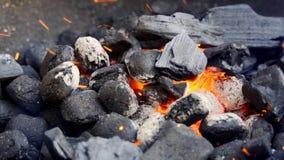 Zbliżenie rozjarzony węgiel w metalu grillu na letnim dniu w zwolnionym tempie zbiory