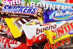Zbliżenie rozmaitości czekoladowi bary Obraz Stock
