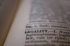 Zbliżenie słowo legalność fotografia royalty free