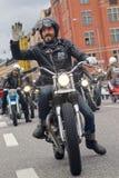 Zbliżenie staromodni motocykle i rowerzyści Zdjęcie Royalty Free