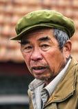 Zbliżenie stary blady z zielonym kapeluszem Zdjęcia Royalty Free