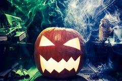 Zbliżenie straszna bania dla Halloween zdjęcie stock