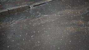 Zbliżenie strzał ulewny deszcz na droga deszczu drodze zdjęcie wideo