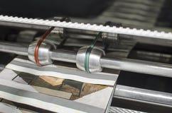 Zbliżenie szczegół Drukowa maszyna podczas magazynu druku produkci Zdjęcia Royalty Free