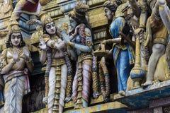 Zbliżenie szczegóły na wierza Hinduska świątynia dedykowali władyka fotografia stock